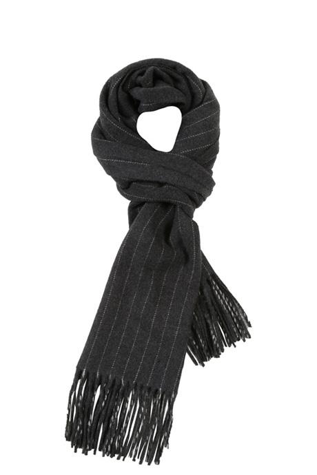 Dark Grey Striped Wool scarf