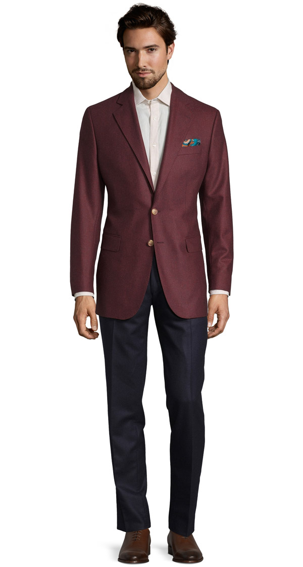 Burgundy Wool Flannel Blazer