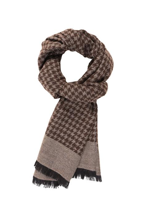 Beige Houndstooth Wool & Silk Scarf