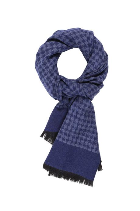 Blue Houndstooth Wool & Silk Scarf