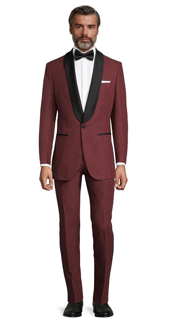 Intense Ruby Red Linen Tuxedo