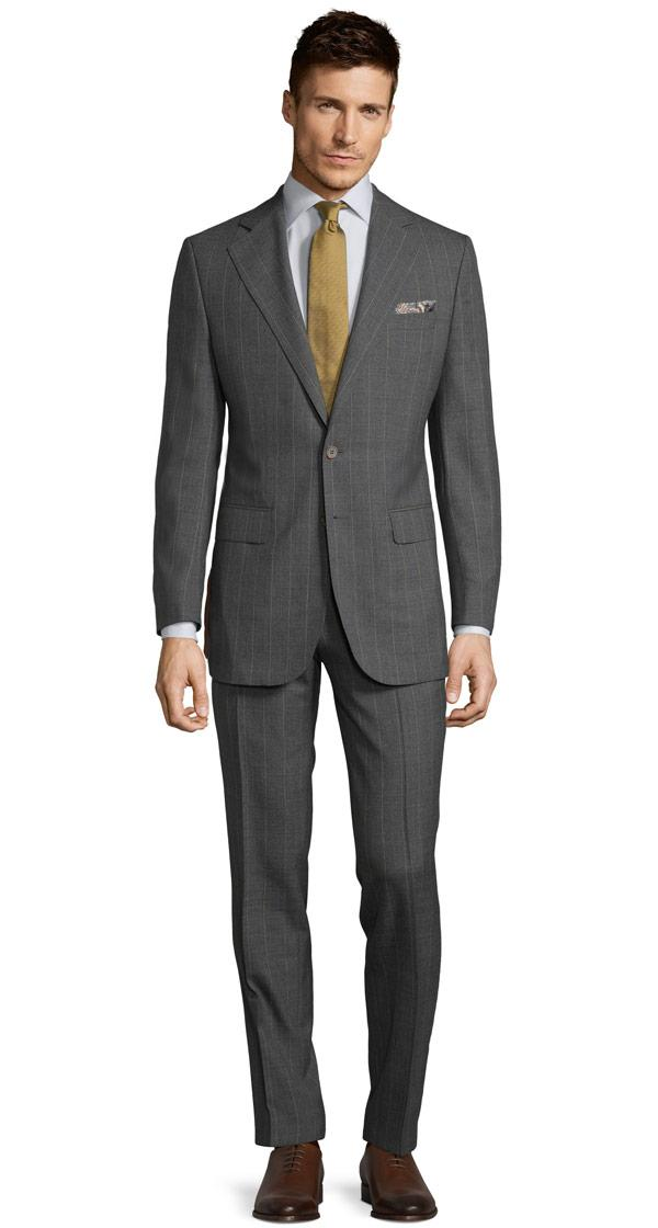 Tropical Rustic Yellow Stripe Grey Suit