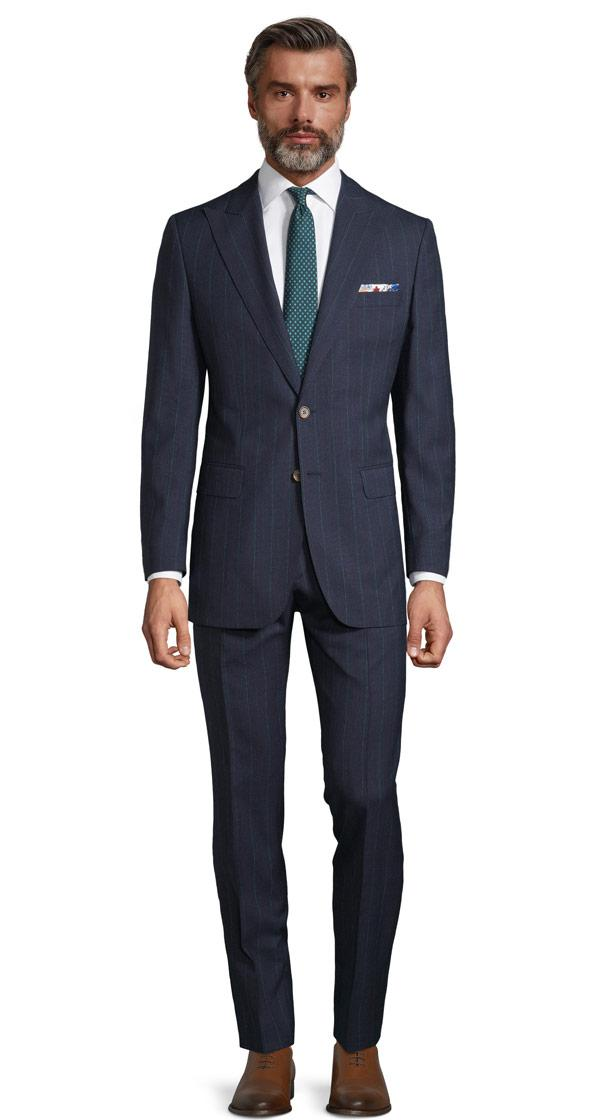 Tropical Rustic Turquoise Stripe Navy Suit