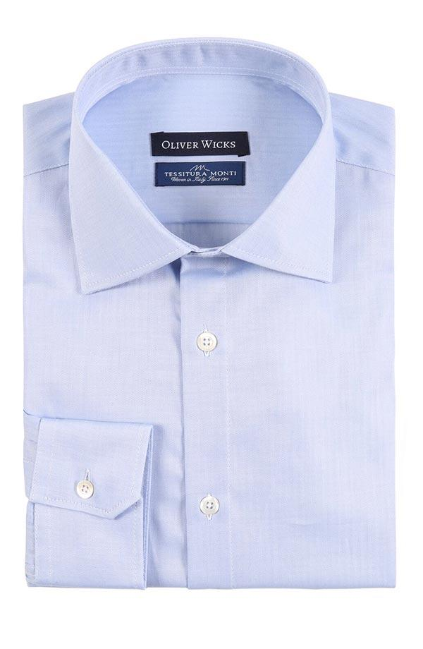 Light Blue Herringbone Cotton Shirt