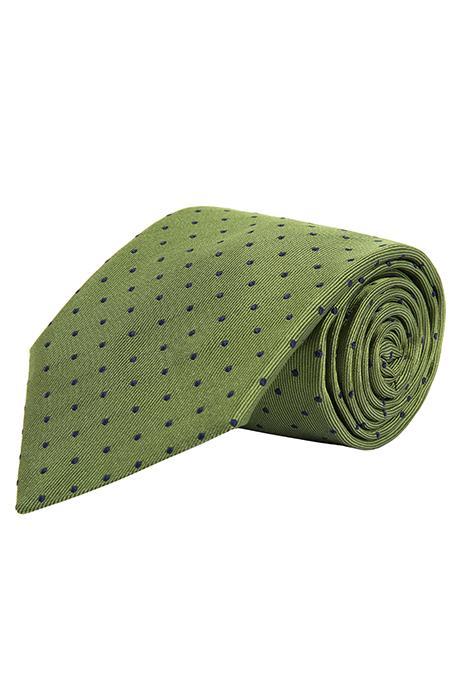 Green Dotted Silk Tie