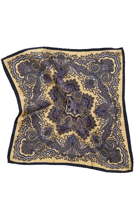 Bronze & Navy Italian 100% Silk Pocket Square