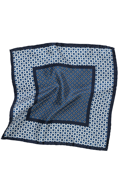 Navy & White Italian 100% Silk Pocket Square
