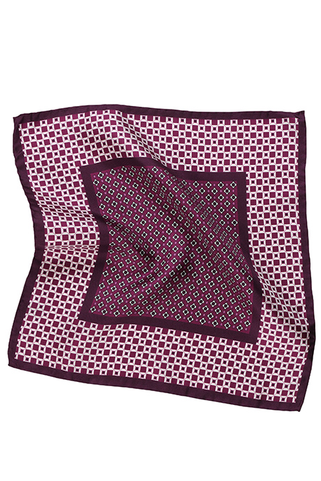 Purple & White Italian 100% Silk Pocket Square