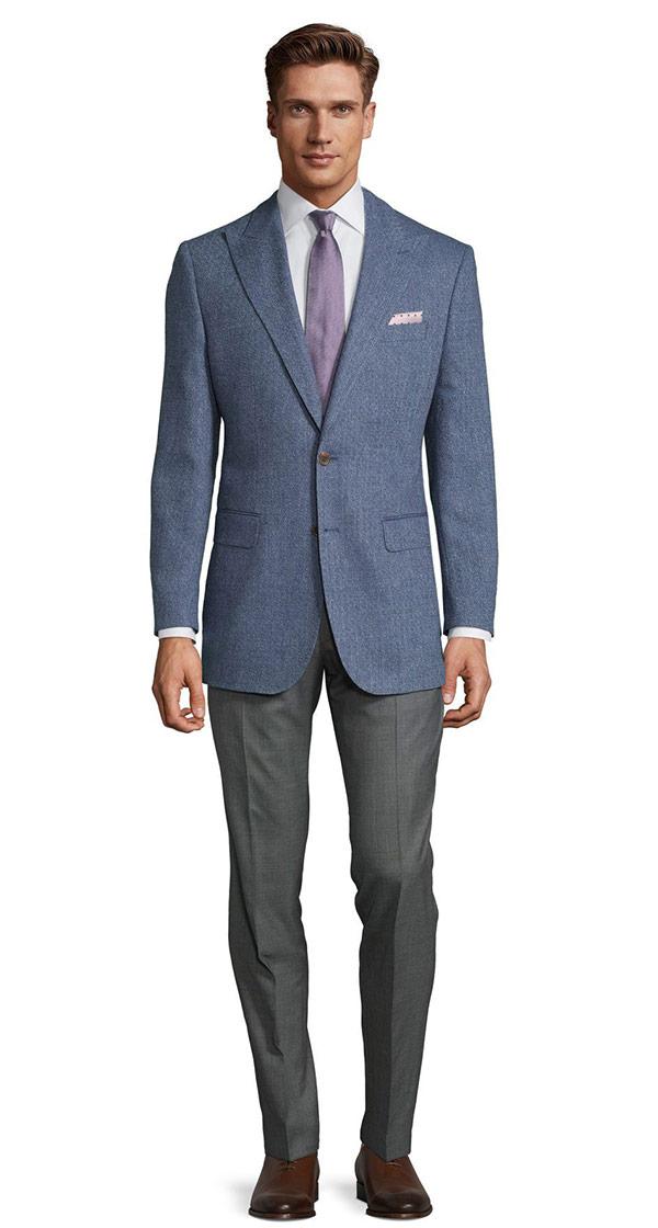 Navy Blue Melange Wool Silk & Linen Blazer