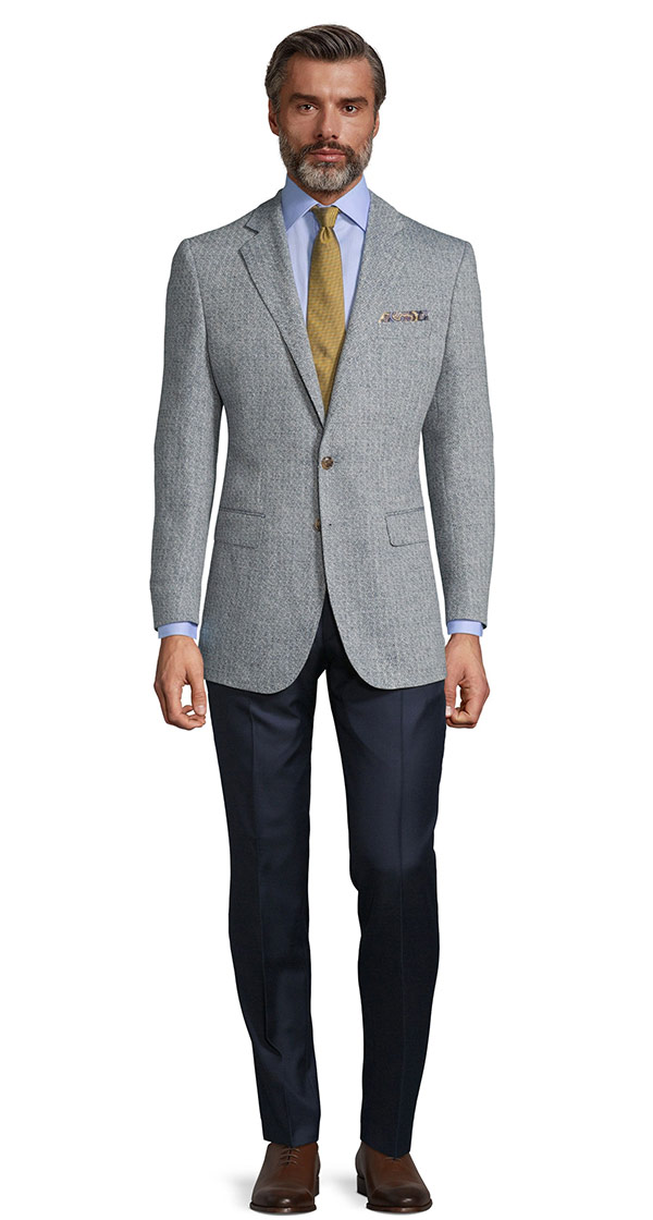 White & Navy Blue Melange Wool Silk & Linen Blazer