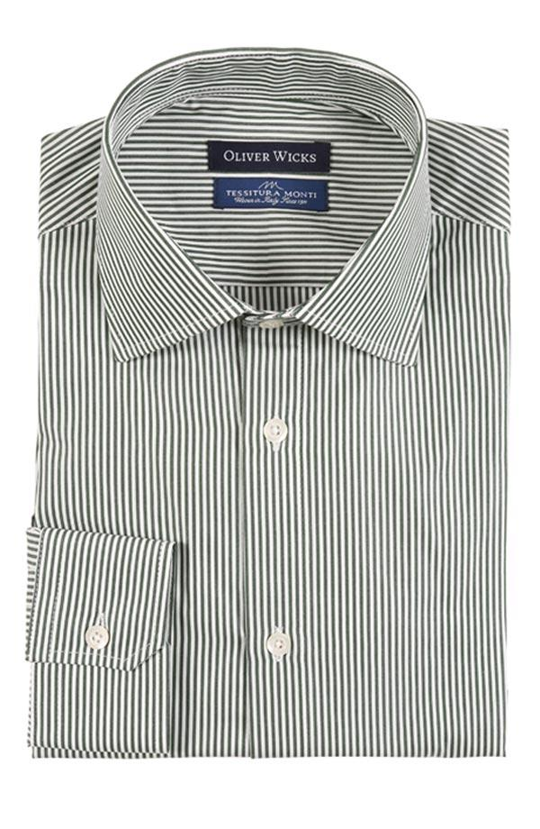 Green Striped Pinpoint Cotton Shirt