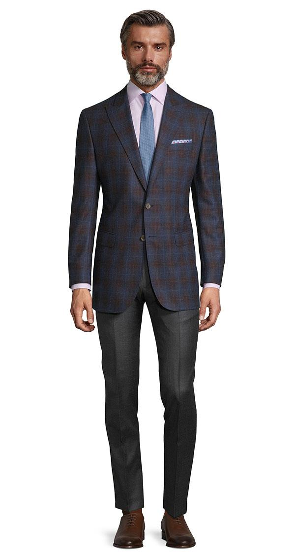 Tangerine & Blue Check Navy Natural Stretch Blazer