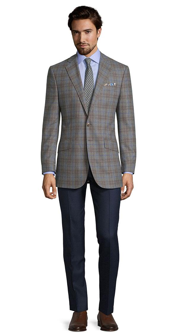 Blue Check Warm Grey Natural Stretch Blazer