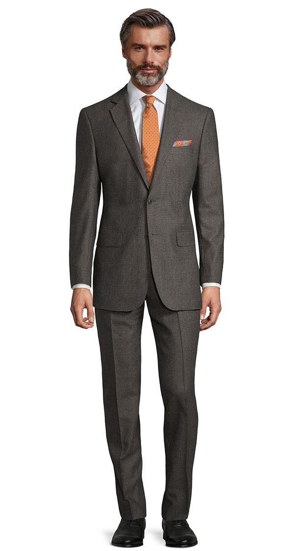 Dark Grey Brown Melange Natural Stretch Suit