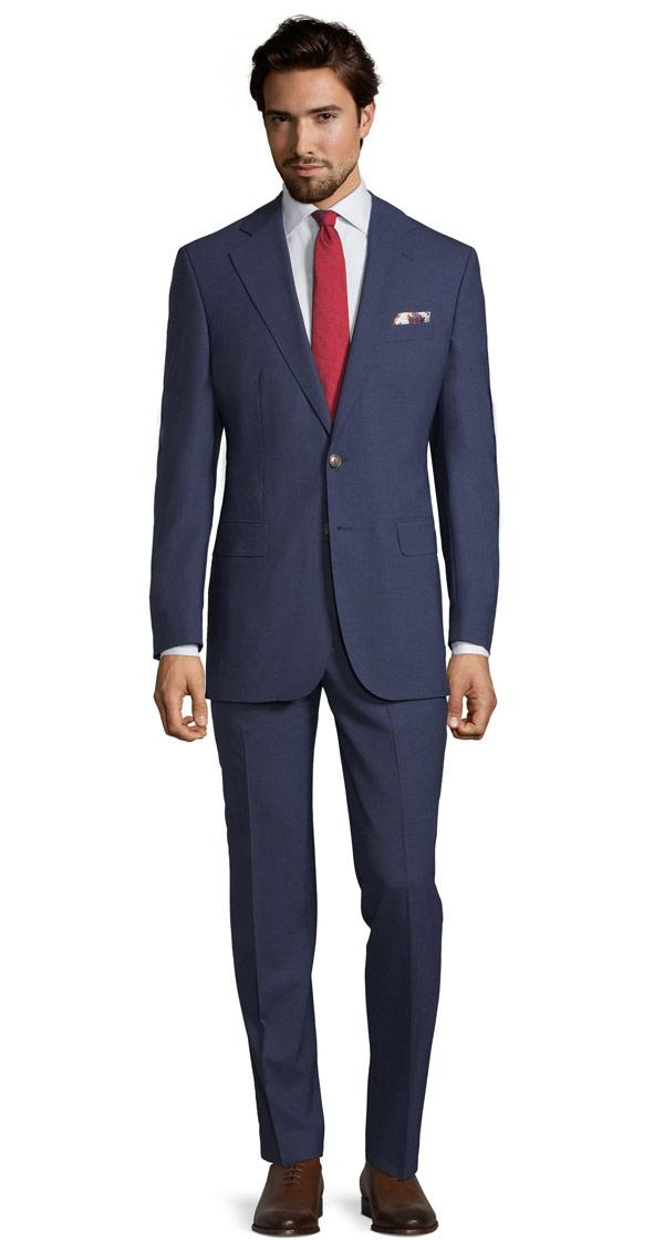 Solid Blue Natural Stretch Suit