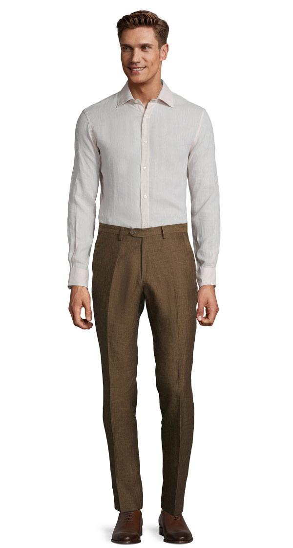 Natural Brown Linen Pants