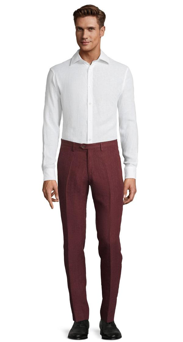 Intense Ruby Red Linen Pants