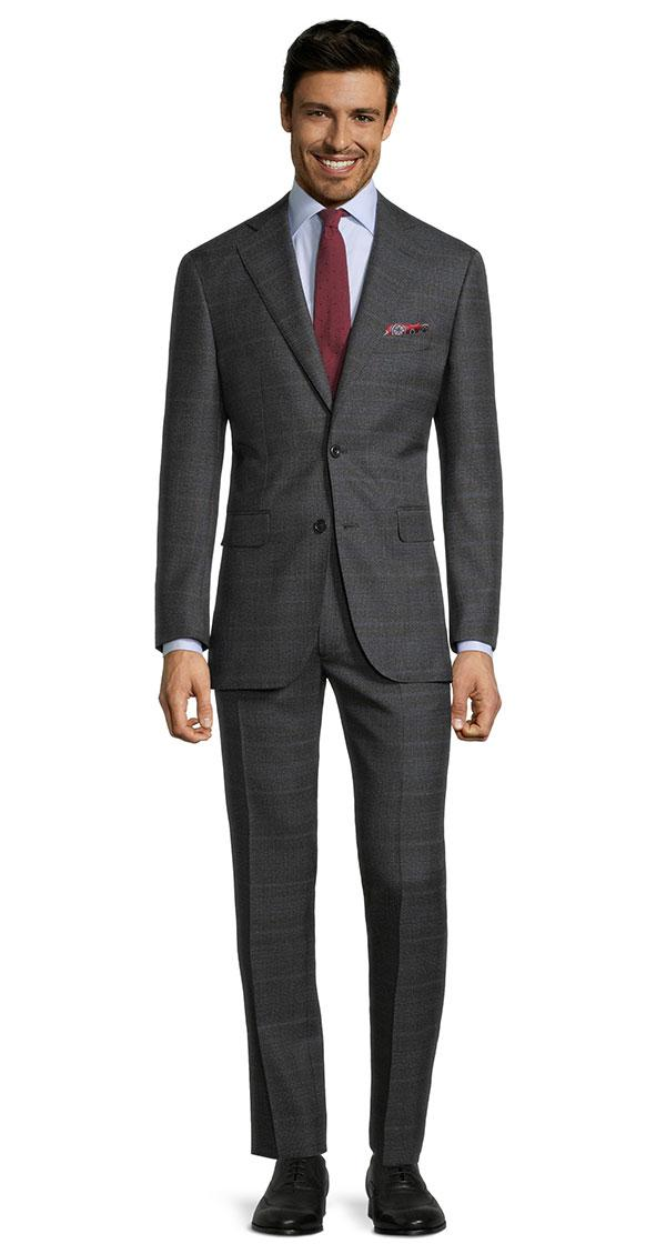 Charcoal Plaid with Red Overcheck Mouline Suit