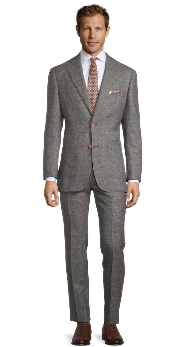 Grey Plaid with Red Overcheck Mouline Suit