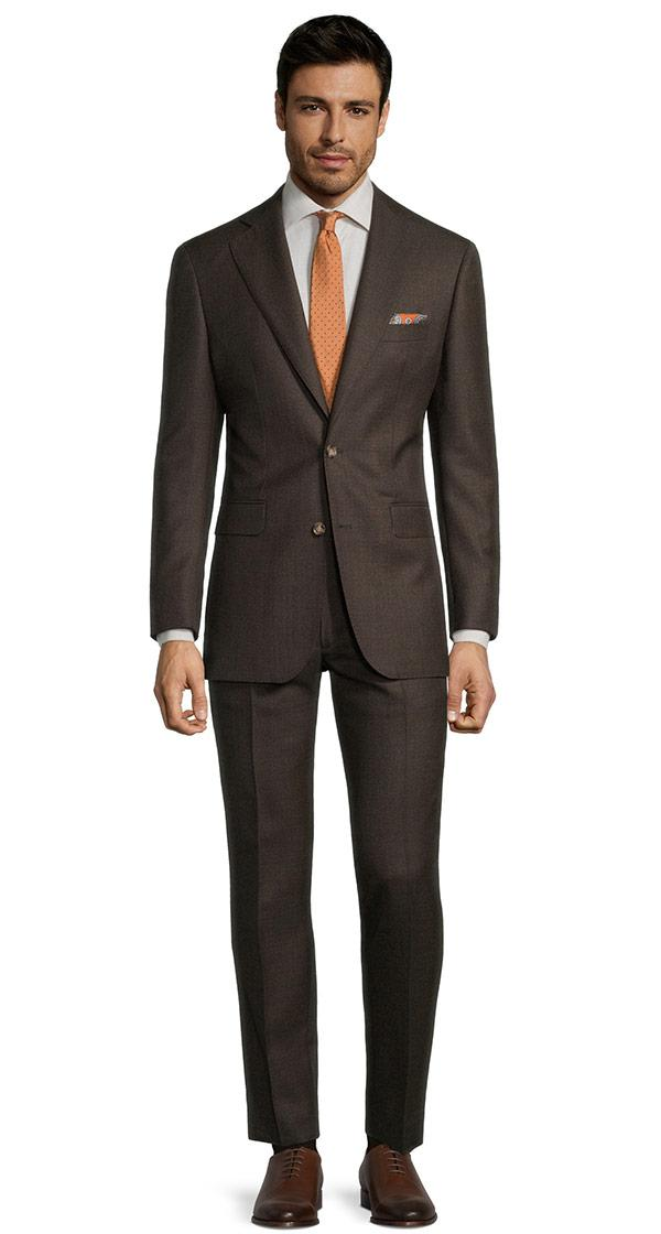 Traditionally Worsted Chocolate Brown Melange Suit