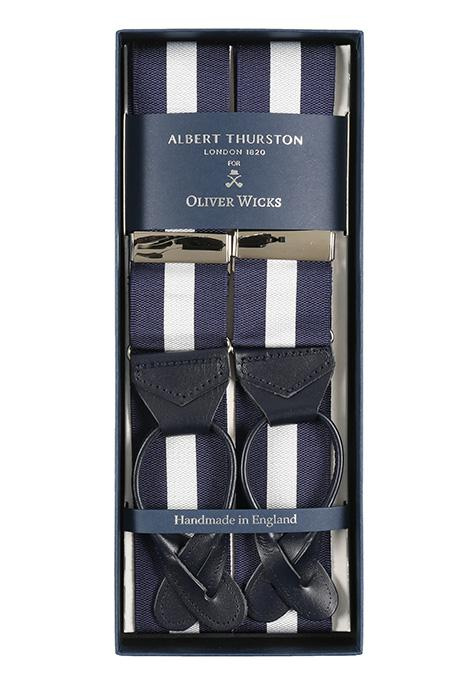 Navy & White Striped Suspenders