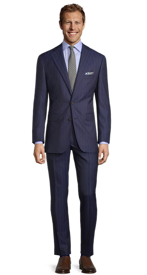 Sartorial Navy Blue Wide Stripe 160s Suit