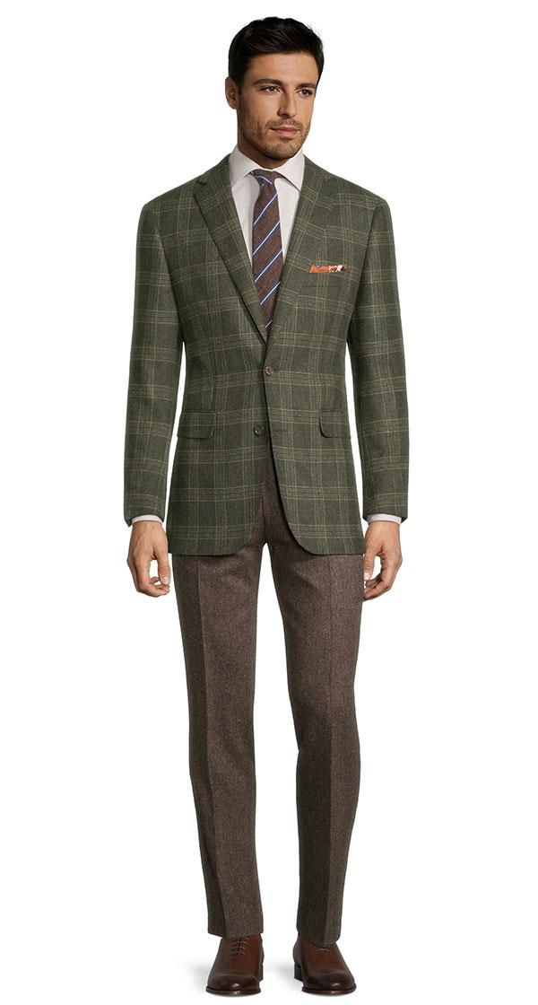 Forest Green Plaid Wool & Cashmere Blazer