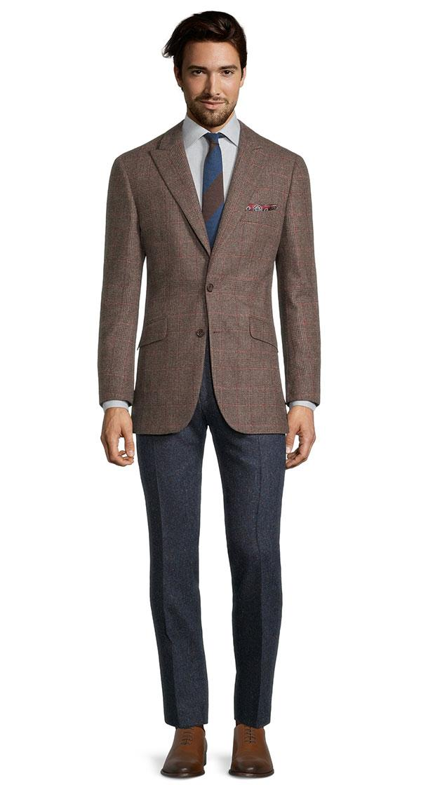 Brown Plaid with Red Overcheck Wool & Cashmere Blazer