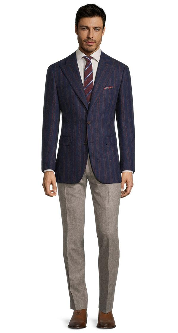 Red Stripe Blue Wool & Cashmere Blazer