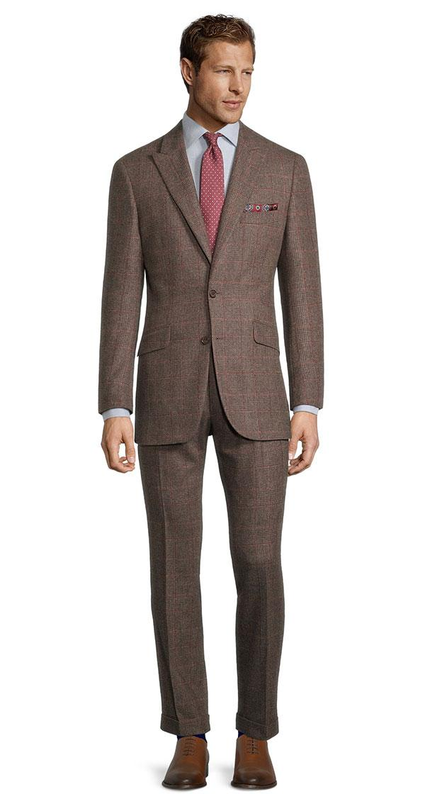 Brown Plaid with Red Overcheck Wool & Cashmere Suit