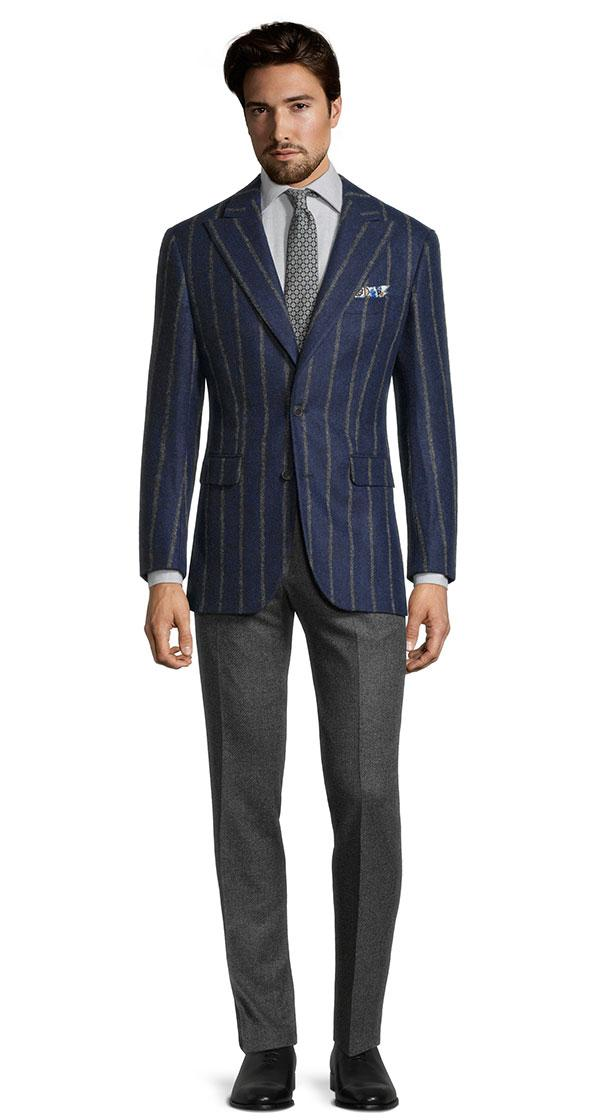 Grey Stripe Navy Baby Alpaca Blend Blazer
