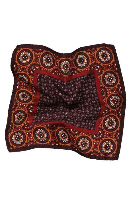 Burgundy & Bronze Italian 100% Silk Pocket Square