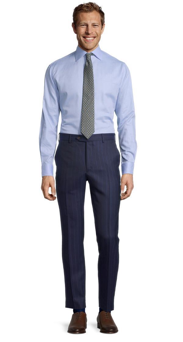 Sartorial Navy Blue Wide Stripe 160s Pants