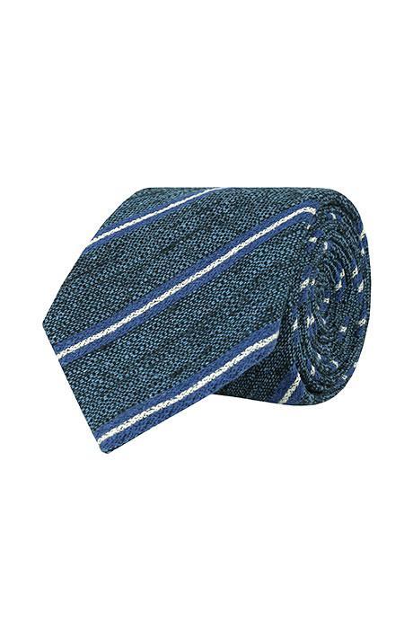 Steel Blue & Blue Striped Vintage Silk-Cotton Tie