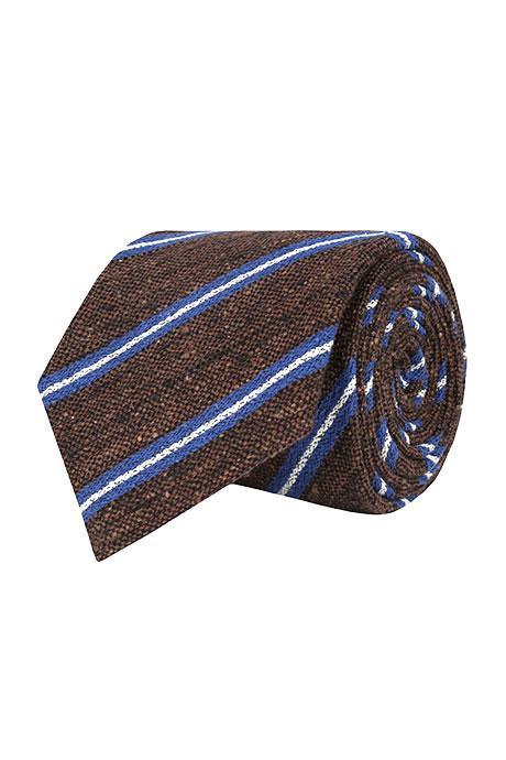 Brown & Blue Striped Vintage Silk-Cotton Tie