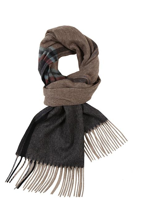 Beige & Charcoal Cashmere Scarf