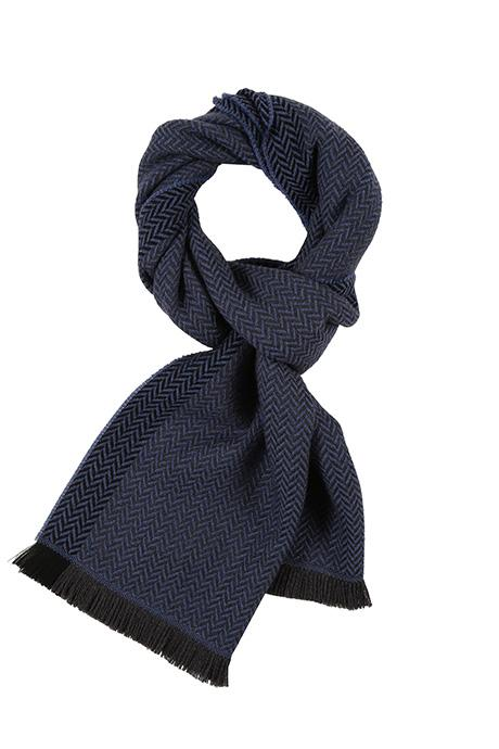 Navy & Blue Herringbone Wool Scarf