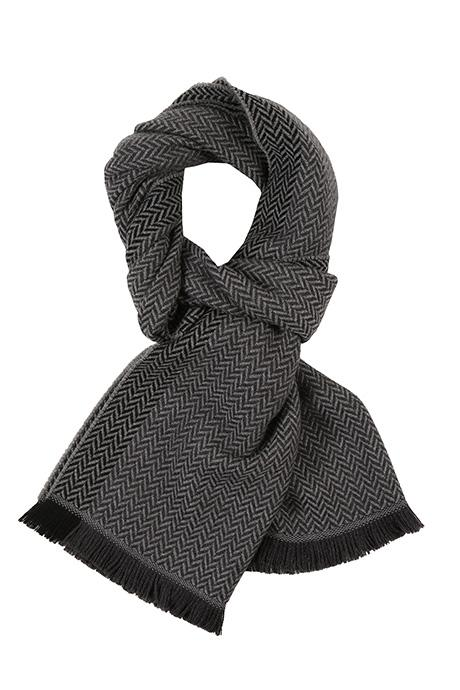 Charcoal & Grey Herringbone Wool Scarf