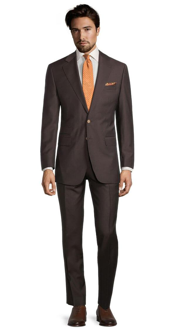 Solid Chocolate Brown Wool & Mohair Suit