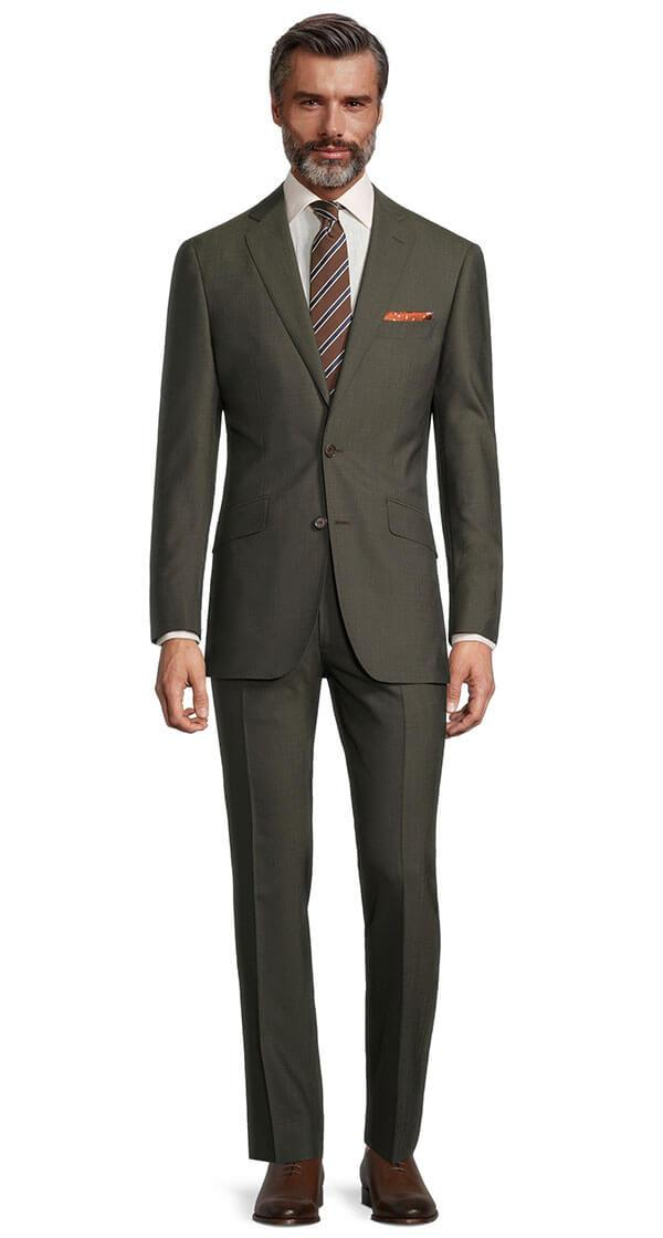 Solid Dark Green Bi-Stretch Suit