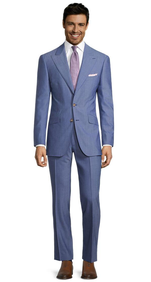Solid Sky Blue Bi-Stretch Suit