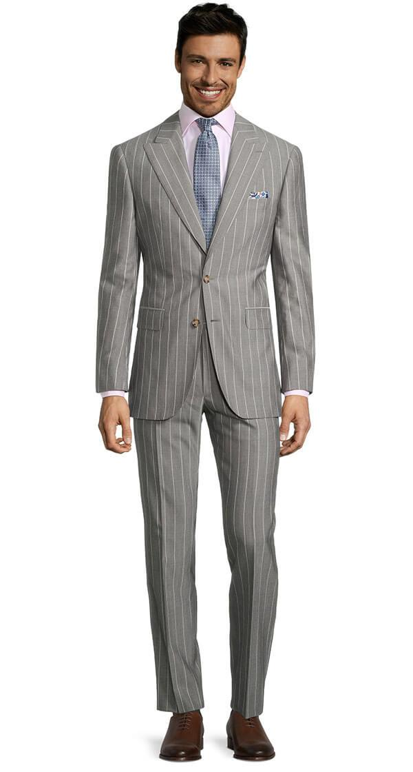 Light Grey Wide Stripe Suit