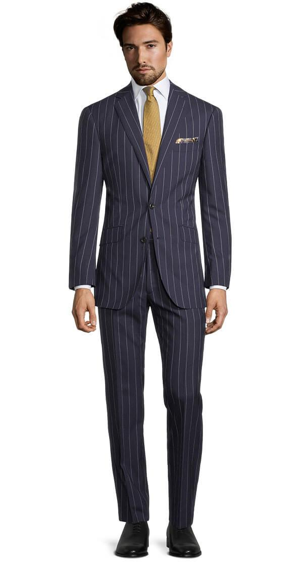 Deep Blue Wide Stripe Suit
