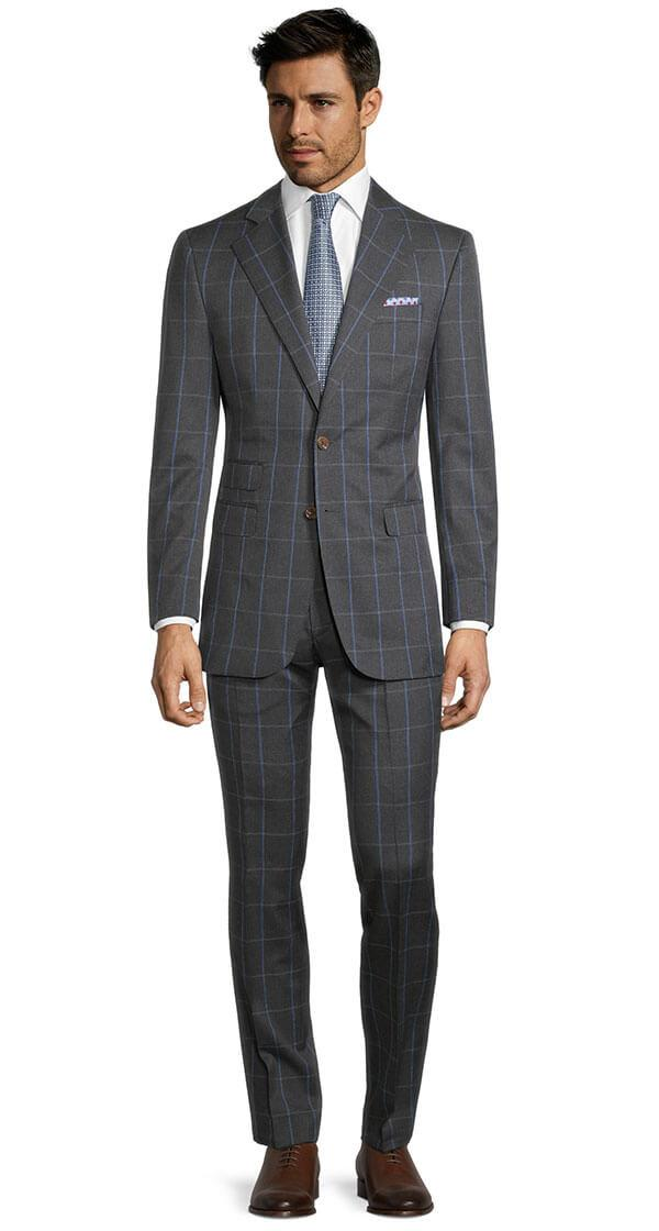 Blue Check Charcoal Suit