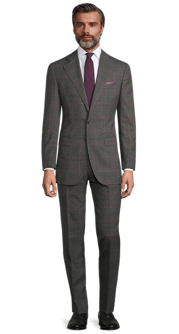 Tropical Rustic Charcoal Plaid with Purple Overcheck Suit