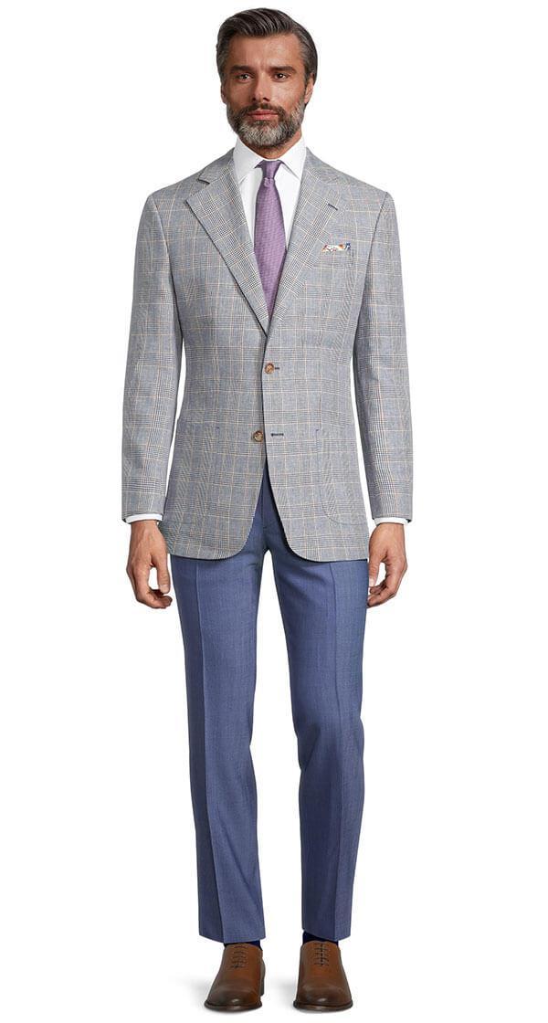 Light Blue Plaid Linen-Cotton Blazer
