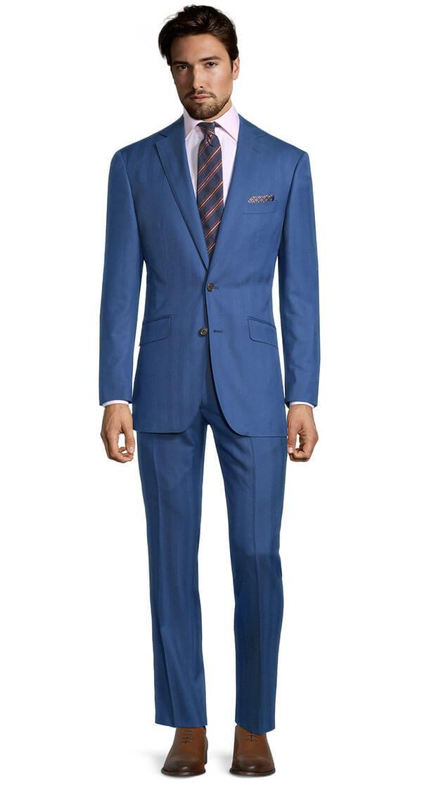 Sartorial Intense Blue Herringbone 160s Suit