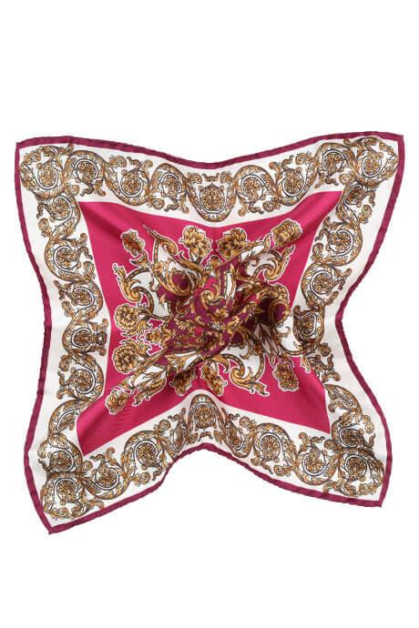 Fuchsia and Gold Patterned Italian 100% Silk Pocket Square