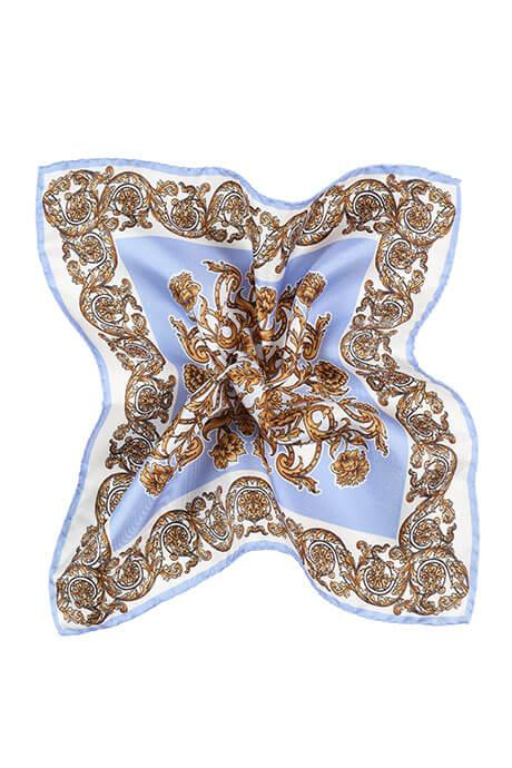 Sky Blue and Gold Patterned Italian 100% Silk Pocket Square