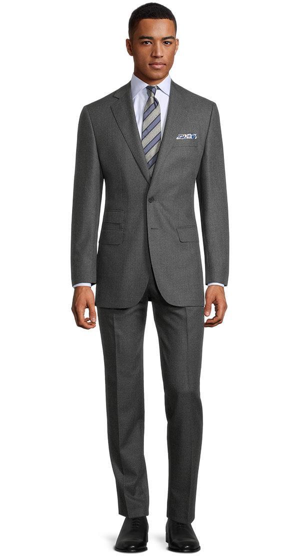 Worsted Chine Dark Grey Suit